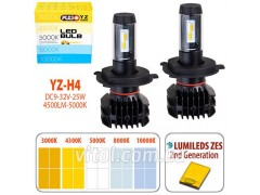 Лампы PULSO YZ/H4-H/L/LED-chips ZES-Philips/9-32v2*25w/4500Lm/3000-4300-5000-6500-10000K (YZ-H4)